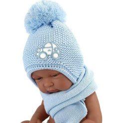Czapka niemowlęca z szalikiem CZ+S 004D niebieska. Czapki dla dzieci marki Reserved. Za 40.78 zł.