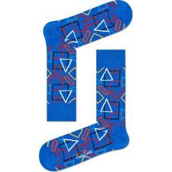 Happy Socks - Skarpety Geometric. Niebieskie skarpety męskie Happy Socks, z bawełny. W wyprzedaży za 29.90 zł.