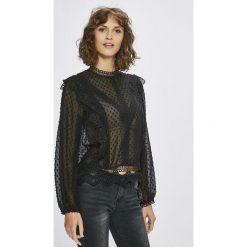 Answear - Bluzka. Czarne bluzki damskie ANSWEAR, z koronki, casualowe, ze stójką. W wyprzedaży za 89.90 zł.