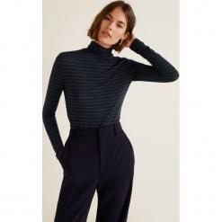 Mango - Bluzka Lux. Czarne bluzki damskie Mango, z aplikacjami, z dzianiny, casualowe, z golfem. Za 69.90 zł.