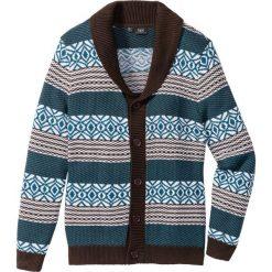 Sweter rozpinany Regular Fit bonprix ciemnobrązowo-niebieskozielony. Kardigany męskie marki bonprix. Za 44.99 zł.