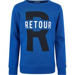 Bluza w kolorze niebieskim. Niebieskie bluzy dla chłopców marki Retour denim de Luxe, z nadrukiem, z bawełny. W wyprzedaży za 105.95 zł.