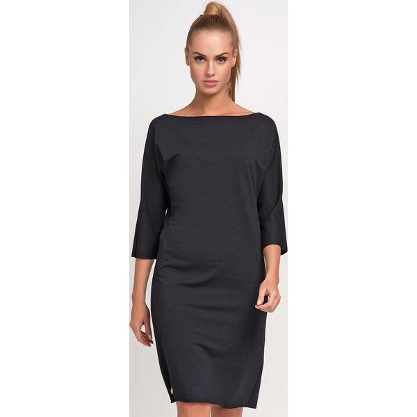 5163b63fa0 Czarna Nowoczesna Sukienka z Dekoltem w Łódkę z Rękawem za Łokieć ...