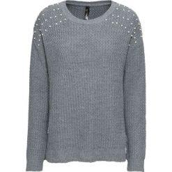 Sweter z perełkami bonprix szary melanż. Swetry damskie marki bonprix. Za 119.99 zł.