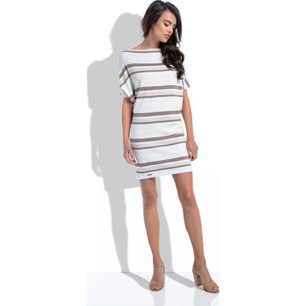 7712d6ae25 Cappuccino Nietoperzowa Letnia Sukienka Mini w Paski - Sukienki ...