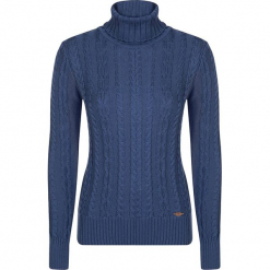 Sweter w kolorze niebieskim. Niebieskie swetry damskie Giorgio di Mare, z dzianiny, ze stójką. W wyprzedaży za 152.95 zł.