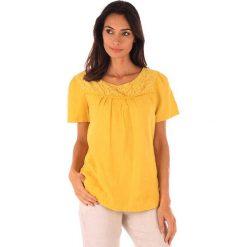 """Lniana koszulka """"Geneve"""" w kolorze żółtym. T-shirty damskie 100% Leinen, w koronkowe wzory, z koronki, klasyczne, z okrągłym kołnierzem, z krótkim rękawem. W wyprzedaży za 65.95 zł."""