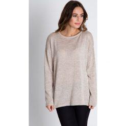 Sweter w kolorze ecru z długim rękawem BIALCON. Brązowe swetry damskie BIALCON, na jesień, z futra. W wyprzedaży za 97.00 zł.