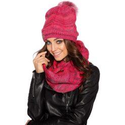 Komplet czapka pompon + komin lc102. Czerwone czapki i kapelusze damskie Lemoniade, na jesień. Za 99.00 zł.