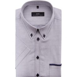 Koszula SERGIO P slim 13-05-15. Szare koszule męskie Giacomo Conti, z bawełny, button down, z krótkim rękawem. Za 149.00 zł.