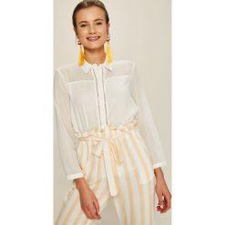 Answear - Koszula Stripes Vibes. Szare koszule damskie ANSWEAR, z poliesteru, casualowe, z klasycznym kołnierzykiem, z długim rękawem. W wyprzedaży za 79.90 zł.