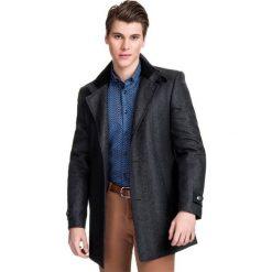 Płaszcz  PIERPAOLO  PSSS000049. Czarne płaszcze męskie Giacomo Conti, jodełka, z wełny, klasyczne. Za 799.00 zł.