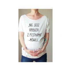 Biały ciążowy oversize tshirt arbuz. Białe t-shirty damskie One mug a day, z nadrukiem, z bawełny. Za 89.00 zł.