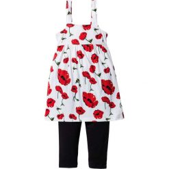 Sukienka + legginsy (2 części) bonprix biało-ciemnoczerwony z nadrukiem. Legginsy dla dziewczynek bonprix, na lato, z nadrukiem. Za 54.99 zł.