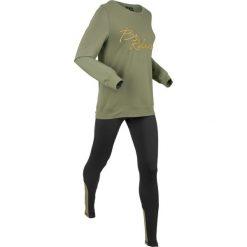 Bluza z legginsami sportowymi (kompl. 2-częściowy) bonprix oliwkowo-czarny. Bluzy damskie marki WED'ZE. Za 129.99 zł.