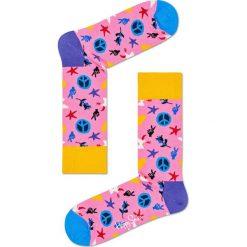 Happy Socks - Skarpetki Peace & Love. Różowe skarpety damskie Happy Socks, z bawełny. W wyprzedaży za 29.90 zł.