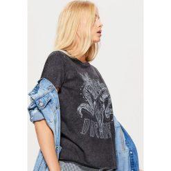 Koszulka w rockowym stylu - Szary. T-shirty damskie marki DOMYOS. W wyprzedaży za 29.99 zł.