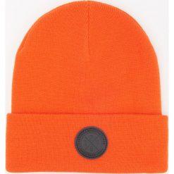 Czapka beanie - Pomarańczo. Szare czapki i kapelusze męskie marki Giacomo Conti, na zimę, z tkaniny. W wyprzedaży za 29.99 zł.