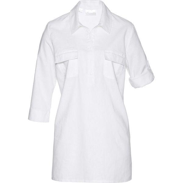 bf70e53f4c Bluzka tunikowa z domieszką lnu bonprix biały - Bluzki damskie marki ...