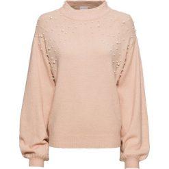 Sweter dzianinowy z perełkami bonprix matowy beżowy melanż. Swetry damskie marki bonprix. Za 99.99 zł.