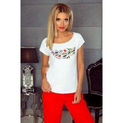 Bluzka t-shirt flowers k214. Białe t-shirty i topy dla dziewczynek Knitis, z nadrukiem, z krótkim rękawem. Za 79.00 zł.