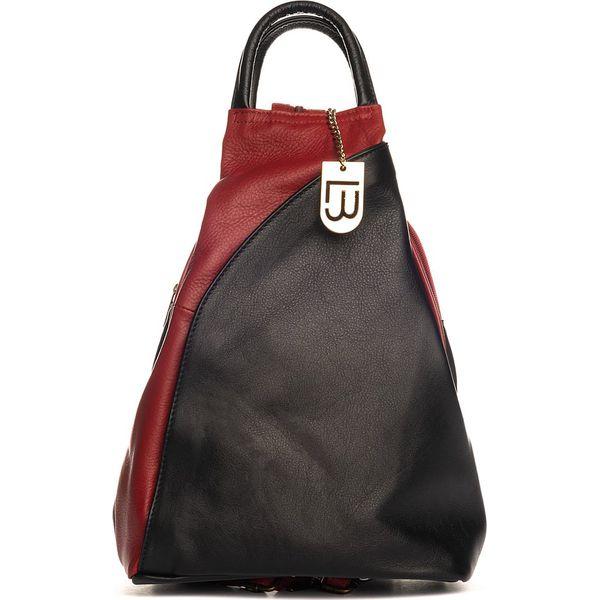 0cbca8b17e239 Skórzany plecak w kolorze czarno-czerwnonym - 27 x 40 x 14 cm ...