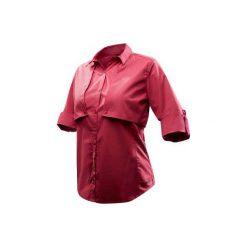 Koszula TRAVEL 500modul damska. Czerwone koszule damskie FORCLAZ, z długim rękawem. Za 99.99 zł.