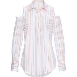Długa tunika z wycięciami na ramionach bonprix biały w kolorowe paski. Tuniki damskie marki bonprix. Za 34.99 zł.