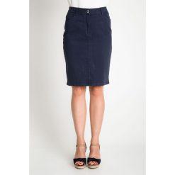 Granatowa spódnica przed kolano QUIOSQUE. Szare spódnice damskie QUIOSQUE, na lato, w paski, z bawełny. W wyprzedaży za 39.99 zł.