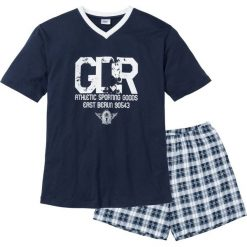 Piżama z krótkimi spodenkami bonprix ciemnoniebiesko-biały. Niebieskie piżamy męskie bonprix, z krótkim rękawem. Za 44.99 zł.