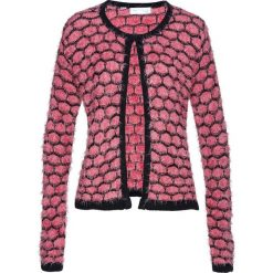Sweter rozpinany z przędzy z długim włosem bonprix pastelowy dymny różowy - czarny. Czerwone kardigany damskie bonprix, z haftami. Za 74.99 zł.