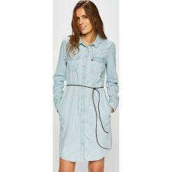 Levi's - Sukienka. Brązowe sukienki damskie Levi's, w paski, z bawełny, casualowe, z długim rękawem. Za 399.90 zł.