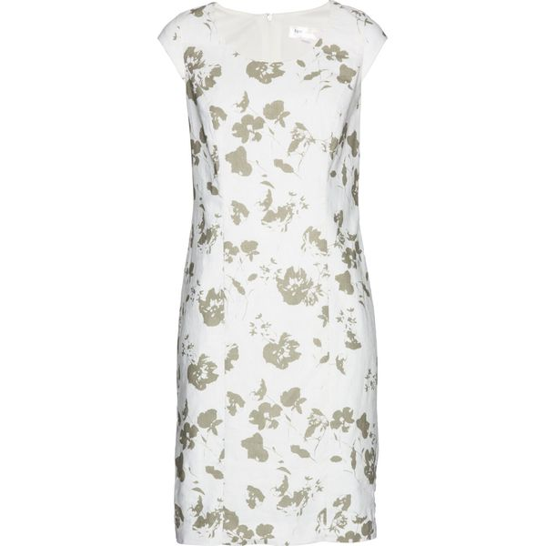 1fc0bd8418 Lniana sukienka ołówkowa bonprix biało-khaki z nadrukiem - Sukienki ...