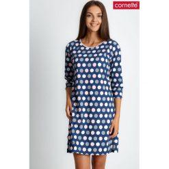 Piżama koszula nocna w groszki QUIOSQUE. Czerwone piżamy damskie QUIOSQUE, na jesień, w geometryczne wzory, z bawełny, z długim rękawem. Za 89.99 zł.