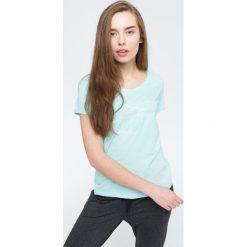 T-shirt damsk  TSD009 - mięta. Szare t-shirty damskie 4f, z nadrukiem, z bawełny. W wyprzedaży za 44.99 zł.
