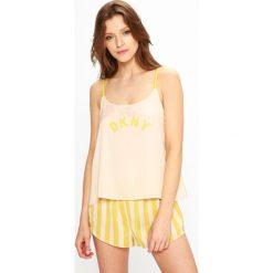 Dkny - Piżama. Szare piżamy damskie DKNY, z nadrukiem, z materiału. W wyprzedaży za 239.90 zł.