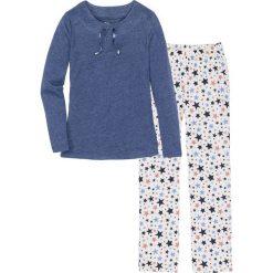 Piżama bonprix niebieski melanż - biel wełny z nadrukiem. Niebieskie piżamy damskie bonprix, melanż, z bawełny. Za 79.99 zł.