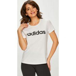 Adidas Performance - Top. Szare topy damskie adidas Performance, z nadrukiem, z dzianiny, z okrągłym kołnierzem, z krótkim rękawem. Za 99.90 zł.