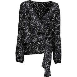 Bluzka z nadrukiem bonprix czarno-biały w groszki. Czarne bluzki damskie bonprix, w grochy, z kopertowym dekoltem. Za 89.99 zł.