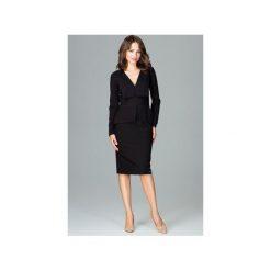 Sukienka K491 Czarny. Czarne sukienki damskie Lenitif, z wykładanym kołnierzem, z długim rękawem. Za 189.00 zł.