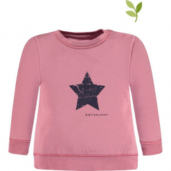 Bluza w kolorze jasnoróżowym. Czerwone bluzy dla dziewczynek bellybutton, z nadrukiem, z bawełny. W wyprzedaży za 37.95 zł.