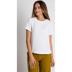 Pudełkowa bluzka ecru BIALCON. Żółte bluzki damskie BIALCON, w jednolite wzory, eleganckie. Za 129.00 zł.