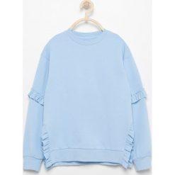Bluza z falbankami - Niebieski. Bluzy dla dziewczynek marki bonprix. W wyprzedaży za 29.99 zł.