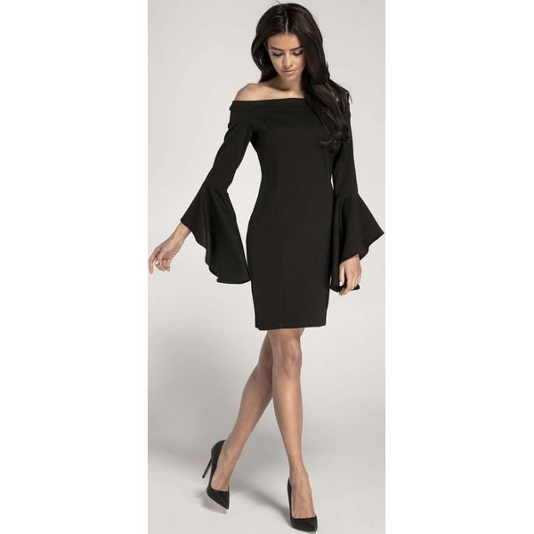 0aa0d702c0 Czarna Ołówkowa Krótka Sukienka Asymetryczną Falbanką - Sukienki ...