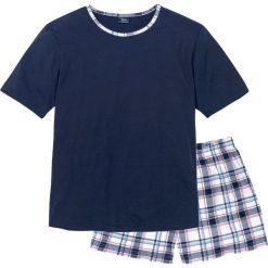 Piżama bonprix ciemnoniebieski w kratę. Niebieskie piżamy męskie bonprix, z krótkim rękawem. Za 44.99 zł.