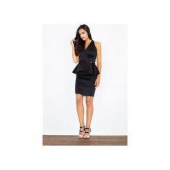 Sukienka M368 Czarny. Czarne sukienki damskie Figl, z bawełny, klasyczne, z klasycznym kołnierzykiem, z długim rękawem. Za 139.00 zł.