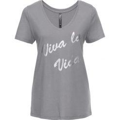 T-shirt bonprix szary - srebrny metaliczny z nadrukiem. T-shirty damskie marki DOMYOS. Za 24.99 zł.