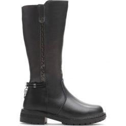 Czarne Kozaki Sense of Humor. Czarne buty zimowe dziewczęce Born2be, z materiału. Za 99.99 zł.