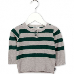 Sweter w kolorze szaro-zielonym. Szare swetry dla chłopców marki Imps & Elfs, w paski, z wełny, z okrągłym kołnierzem. W wyprzedaży za 82.95 zł.