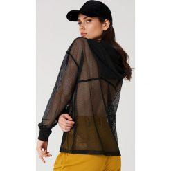 Rut&Circle Siateczkowa bluza oversize z kapturem - Black. Czarne bluzy damskie Rut&Circle, z poliesteru. Za 121.95 zł.